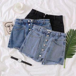 [PO] Korean Style Ripped Buttons Down Denim Shorts