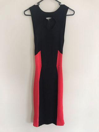 Marciano Black & Red Midi Dress - Postage Included