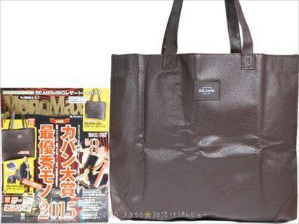 Beams 啡色 男女合用 仿真皮 單膊/手挽袋 ~ 🇯🇵日本雜誌附錄袋