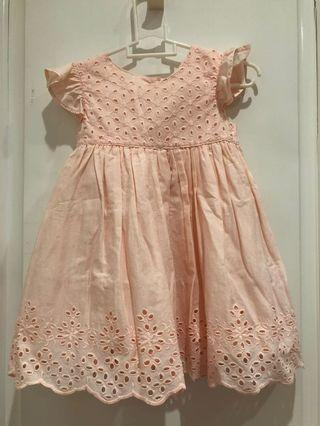 Mothercare peach eyelet dress