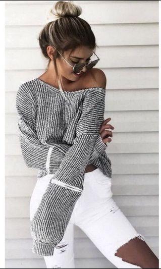 Grey off shoulder jumper