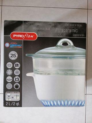 2L steamer set with glass lid