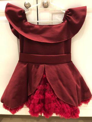 Baby Fashionistas Maroon Dress