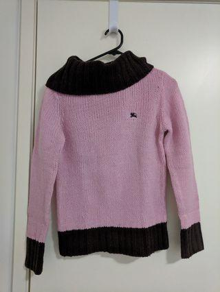 Burberry pink and brown wool knitted jumper