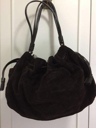Kate Spade 正品啡色麂皮 brown genuine suede handbag