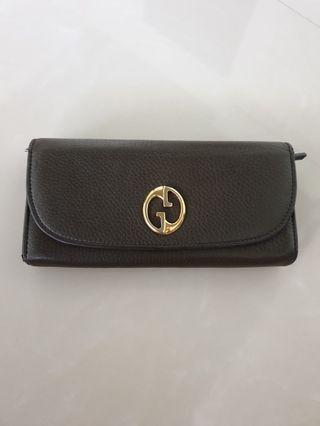 Gucci long wallet in olive green