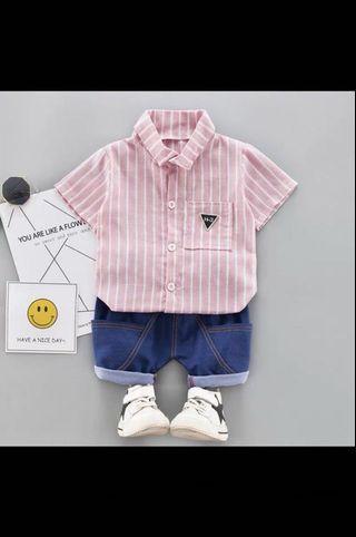 粉紅色男孩襯衫90cm