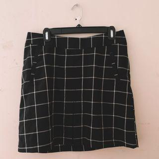 black and white grid mini skirt