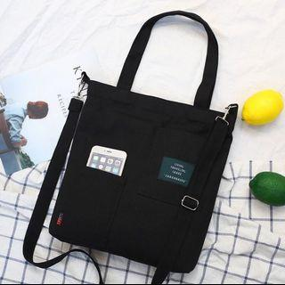 Black Canvas strap tote sling bag