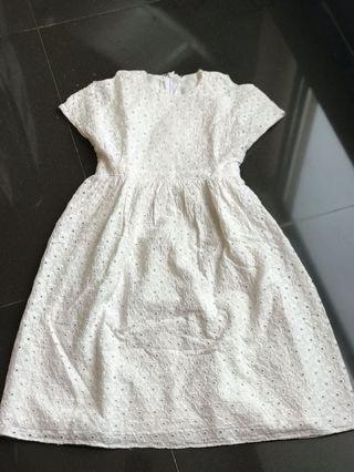 Dress White Katun Anak Preloved