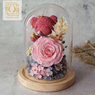INSTOCK PRESERVED ROSE BEAR IN GLASS DOME