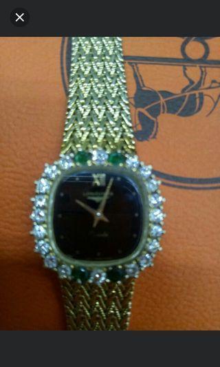 正品K金浪琴鑲真鑽及祖母綠金錶