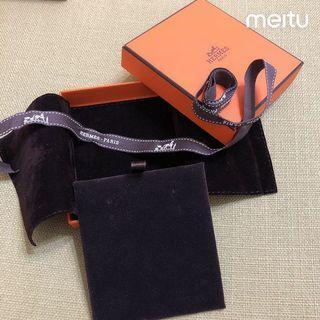 🚚 專櫃正品 Hermes 愛馬仕 絨布袋 收納 首飾 耳環 項鍊 手鍊 紙盒 飾品盒 收納盒 紙盒 防塵袋 情人節 禮物