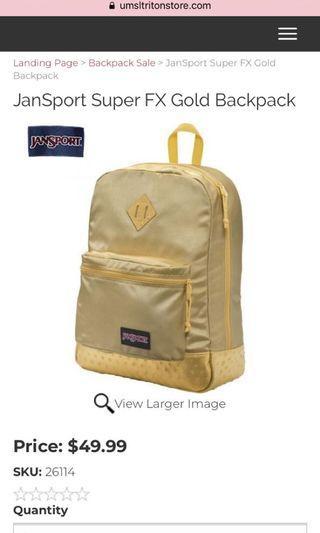 Jansport super fx gold backpack