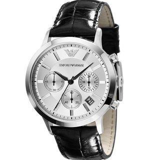 Emporio Armani Men's silver dial black leather Watch