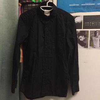🚚 薄長袖黑色襯衫