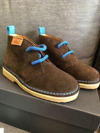 Boys brown boots size 7/24 blue laces