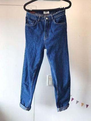 🚚 💖極新!Zara中高腰復古牛仔褲。湛藍深藍色。夏日