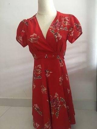 Red Floral dress S