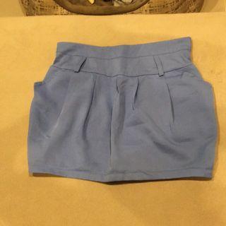 🚚 (全新)鬆緊褲頭淺藍色雪紡花苞短裙迷你裙窄裙