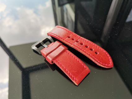 Vintage red 24mm strap for Panerai