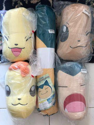 Pokémon authentic Pikachu Snorlax cushion and floor mat for sale (Toreba Japan)