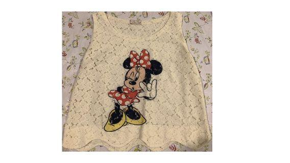 Minnie Mouse Lace See Through Sleeveless Crop Top