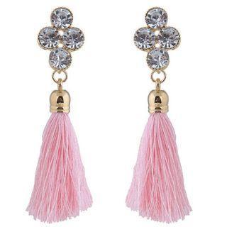Crystal Stud Boho Fringe Earring - Pink