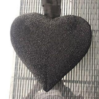 Beaded Hanging Heart Shaped Decoration Cushion