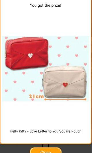 Hello kitty Love Letter Square Multi purpose pouch from Toreba Japan