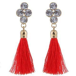 Crystal Stud Boho Fringe Earring - Red