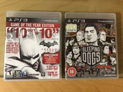 PS 3 Games - Batman Arkham City / Sleeping Dogs