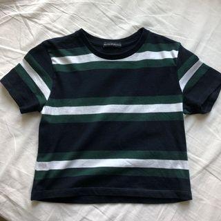 brandy melville helen green navy striped top