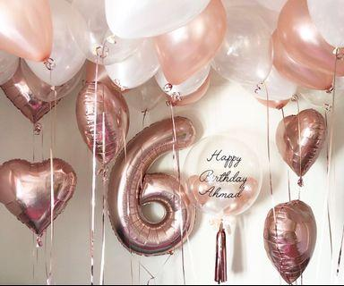 🚚 Rose gold balloons