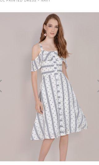 HVV Carol Printed Dress Navy
