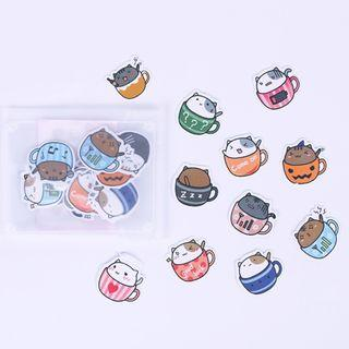 Cat Cup Stickers / Cat Cup Sticker Flakes