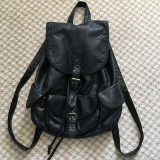 Ruby and Kit Black Pleather / Faux Leather A4 Sized Backpack
