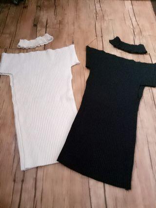 Knit top with choker knit 2pcs