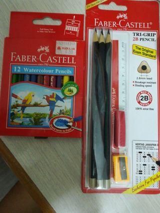 Faber Castell - 2B Pencil - Watercolour Pencils - Tri grip - 12 Watercolour Pencils