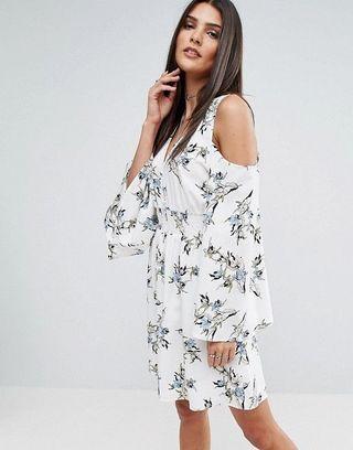 River Island Cold Shoulder Dress in Floral Print