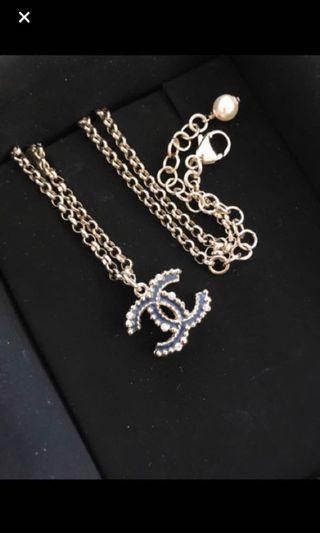Brand new Chanel CC logo w/ rhinestones Necklace