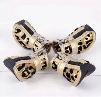 特價🎊春夏狗狗鞋子  3號銀色豹紋鞋2雙 3號粉色豹紋鞋1雙 泰迪貴賓博美狗寵物狗鞋