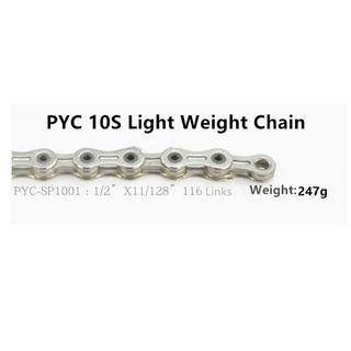 💯🆕Pyc SP1001 10 Speed ​​Mountain Bike / Road Bike Super Light Hollow Chain 116L Silver (247g)