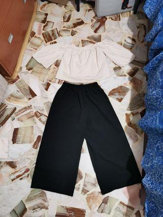 Black culottes + beige off shoulder top