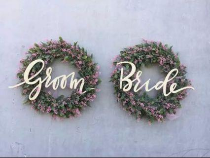 🚚 Bride and Groom Rustic Wedding Signages