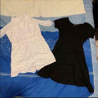 Ohvola white polka dot cold shoulder romper + black dress