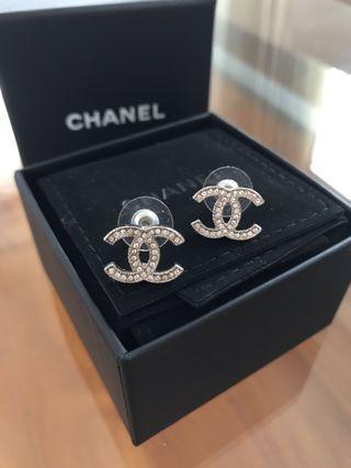 Brand new Chanel CC logo white rhinestone earrings