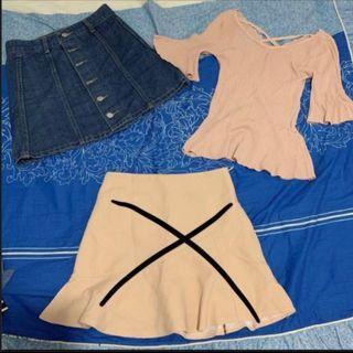 $10 both!! Denim skirt + Beige flare bell sleeve top