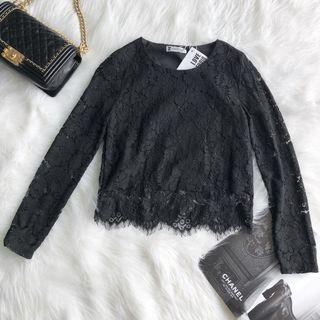 Lady Lace Black Long Sleeve Top