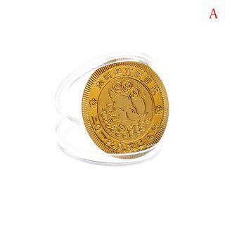 【WholeSale 10pcs/sets】Gold foil paper pig commemorative coin Chinese zodiac anniversary coin souvenir